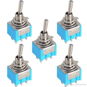 5Pcs Blu a 6 pin DPDT ON-ON Mini MTS-203 6A125VAC Interruttori a levetta miniatura B00020 SOLO