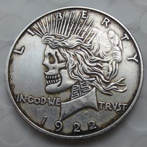 US Kopf-an-Kopf zwei Gesicht 1921/1922 Friedensdollar-Schädelzombie-Skeletthand geschnitzte Kopien-Münzen