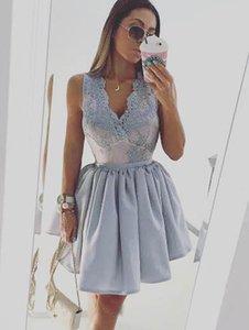 2017 Light Sky Azul Mini Curto Vestidos de Baile V Neck Lace Apliques Top Curto Vestidos de Baile Formal Desgaste Do Partido Barato vestido de Cocktail