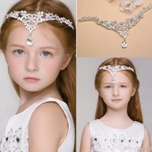 New Luxury Crystal Children Hair Accessories Rhinestone Girls Head Pieces Junior Bridesmaid Bride Wedding Accessories Headband Hairwear