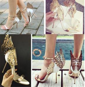 Mode Hochzeit Party Damen Schuhe Open Toes Schuhe Sommer Sandalen Party Abschluss High Heels Schuh Schnalle Ferse 10 cm Schmetterlingsflügel