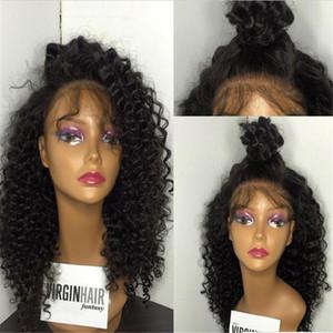 130% densité soyeuse cheveux bouclés humains 10-26 '' pouces de long cheveux brésiliens vierges pleine perruque de lacet perruque avant pour femme noire