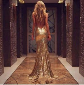 Nuevo tamaño lentejuelas de oro vestidos de noche de Split lateral sin respaldo vestidos de baile más larga de la sirena con lentejuelas vestidos de dama de honor por encargo barato 079