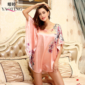 Wholesale- H1687 Top Sale Nightgowns Sleepshirts 2016 Satin Silk Plus Size home Bathrobe female Women Sleepwear Dressing Gown Floral Gown