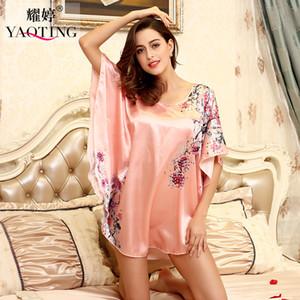 Toptan-H1687 Üst Satış Nightgowns Sleepshirts 2016 Saten Ipek Artı Boyutu ev Bornoz kadın Kadın Pijama Sabahlık Çiçek Elbisesi