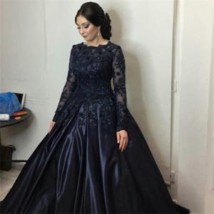Темно-синий кружева с длинными рукавами Пром платье бальные платья мусульманский стиль кристаллы вечерние платья индивидуальные сделал vestidos лонгос де феста