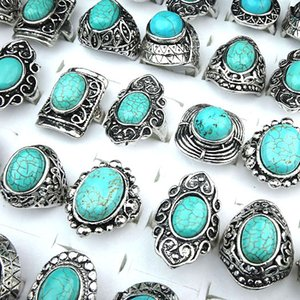 10pcs Wholesale Vintage Jewelry Lots Turquoise Stones Antique Silver Plated Women Mens Rings A-145