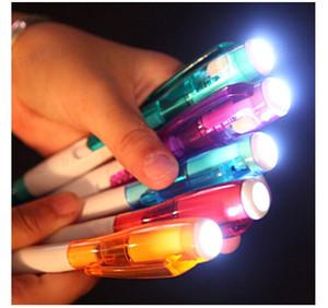 10 pçs / lote caneta com luz Led multifunciton caneta papelaria escritório crianças crianças escola bola caneta escrita ferramenta presentes