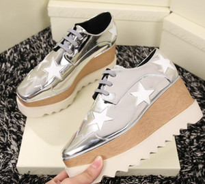 2019 Drop Shipping Elyse Stella Mccartney Scarpe Schuhe Silber Echtes Leder mit weißer Sohle Low Top