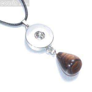 12 шт. / лот 12 цветов DIY 18 мм Оснастки ювелирные изделия кнопки подвески натуральный Кристалл Камень капля кулон ожерелье с черный кожаный ожерелье DZ0125