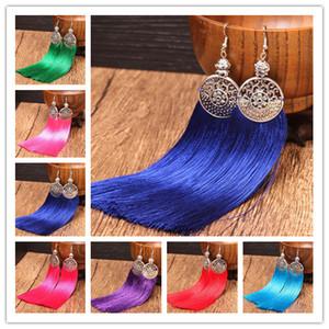 China-Miao Stil coloful Handwerk Quaste Ohrringe für Frauen 2017 Silber Überzogene Quaste Lange Baumeln Kronleuchter Ohrringe Großhandel freies schiff