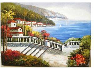 Обрамленная, Много Оптом, Pure Handcraft art Красивая гавань побережья Пейзаж маслом на холсте Хлопок лен Multi размеры, R198 #