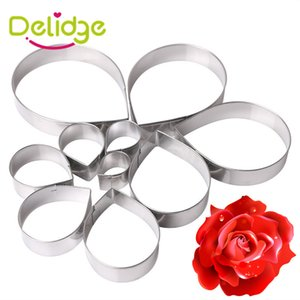 Delidge 10 pz / set Rose Flower Cookies Stampo in acciaio inox Fiore Cookie Cutters Set Cake Decoration Mold Biscuit Tool