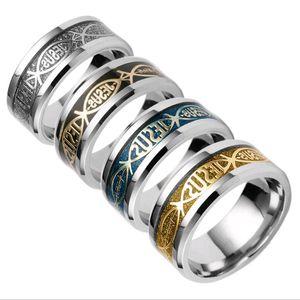 Verkauf von Edelstahl Band Ringe Religion Christian Gebetsbuchstabe Jesus Bibel Gold Silber Fingerring Für Männer Frauen Fabrik Direct