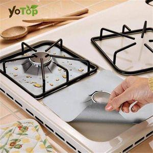 Wholesale- YOTOP 4pcs PTF NonStick Gas Range Stovetop Burner Protector Liner Cover For Cleaning Kitchen Tools Reusable Mat Dishwasher Safe