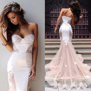 Vestido De Fiesta Meerjungfrau Pink Prom Kleider 2017 Sexy Spitze Appliques Pailletten Tüll Schatz Backless Shiny Gericht Zug Abendkleider BO7243