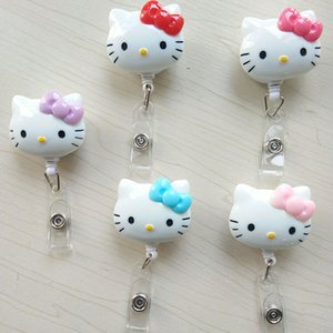 5pcs / lot Cute Cartoon KT Cat Retrattile Badge Reel Tirare ID Card Badge Holder Clip da cintura Hospital School Office