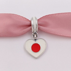925 серебряные шарики Япония Сердце Флаг Подвеска Шарм Подходит Европейский Pandora Style Браслеты ожерелье для изготовления ювелирных изделий 791553ENMX