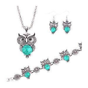 Rouge Argent Antique Vintage Owl Ensemble de bijoux collier pendentif boucles d'oreilles Barrettes pour les femmes Party ensembles de bijoux de mode navire gratuit