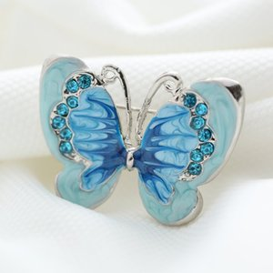 Wholesale- Beautiful bule Butterfly Small Insect Brooch Pins Silver Plated Crystal Brooches Women Decoration Jewelry Clothes Accessories