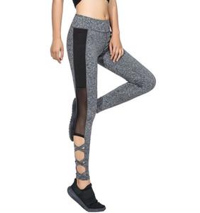 2017 Activewear Mesh Legging Sexy Leggins gris Leggings negros empalmados Mujeres otoño invierno Workout Leggings Leggings de cintura alta