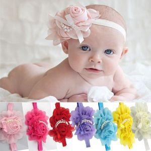 Bébés filles Enfants Perles Roses Belle Bandeaux Fleurs Vintage Accessoires Pretty Hair Bandeaux infantile Bandeaux 13 Couleur Cadeaux de Noël