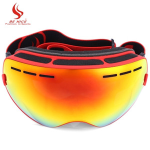 Be Nice Double Lens UV400 Anti-Fog Big Spherical Skiing Glasses Winter Sport Protective Snowboard Skiing Eyewear Goggles Glasses +B
