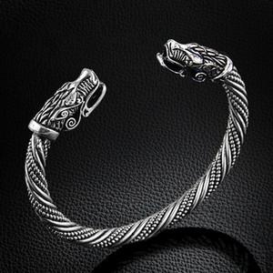 الجملة- lakone التين وولف رئيس سوار مجوهرات اكسسوارات الأزياء فايكنغ سوار الرجال الاسوره صفعة أساور للنساء أساور