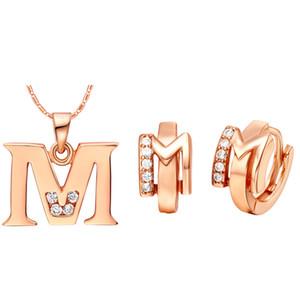 Plated NEW Anzug 925 Sterling Silber mit Buchstaben Anhänger Ohr Ding Farbe Buchstaben gemacht M