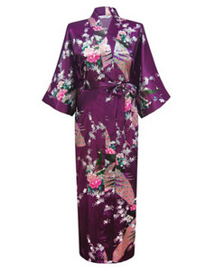 Wholesale- Purple Fashion Women's Peacock Long Kimono Bath Robe Nightgown Gown Yukata Bathrobe Sleepwear With Belt S M L XL XXL XXXL