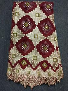 (5 yards / pcs) BC20-8 Tessuto di cotone alto tessuto reticolo blu e fucsia reticolo africano tessuto di pizzo, pizzo voile svizzero per il vestito