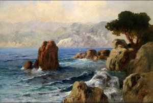 Umrahmte Isunset-Meerblickmeereswellen mit Felsenvogel, reines handgemaltes Meerblick-Kunst-Ölgemälde. Multi Größen verfügbares freies Verschiffen S015