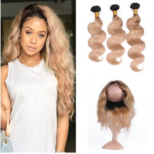 Dark Root Honey Blonde Hair Bundles con 360 Frontals 1b 27 Ombre 360 Lace Frontal Clsoure con Body Wave Hair Weave 4pcs / Lot