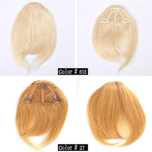 Clip de pelo humano en el pelo Bangs franja humana Bold Blunt Natural Hairpiece Indian Virgin extensiones de cabello 7 colores elegir