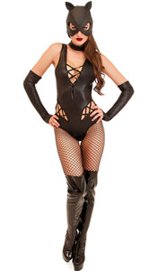 Costume cosplay Catwoman donna Sexy Lace Up Tuta Halloween Fancy Party Fancy Dress con maschera guanti
