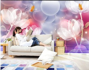 3D crystal clear lily fresco living room TV background wall mural 3d wallpaper 3d wall papers for tv backdrop