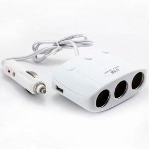 Envío gratis 3 maneras del encendedor del coche del encendedor de cigarrillos Splitter adaptador de corriente Dual USB Cargador para Iphone Samsung HTC Mobile 1A