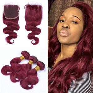 # 99J Brasilianische Körperwelle Haar 3 Bundles Mit Spitze Schließung Burgundy Haar Spinnt Mit Top Closure 4 Teile / los