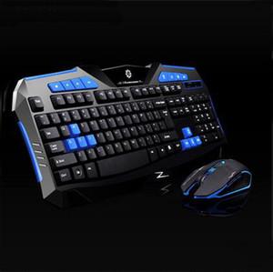 Conception ergonomique Clavier de jeu sans fil et 2400DPI Mouse Kit 2.4GHz clavier mécanique Combos Touch 2 couleurs Top qualité