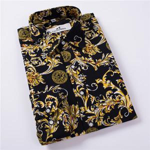 Wholesale- Hot Sale Size: M-5XL New Fashion Floral Print Slim Fit Shirts Men's Long Sleeve Casual Dress Shirts 8 Colors