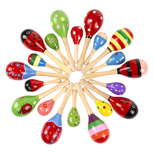 Multicolor Baby Wooden Maraca 2sizes 12cm 19cm Toy Cute Rattle toys Orff musical instruments Educational Toys for baby children