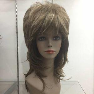 Hivision 2017 nova moda de alta qualidade marrom misturado em camadas médio comprimento sintético das mulheres ondulado peruca cheia