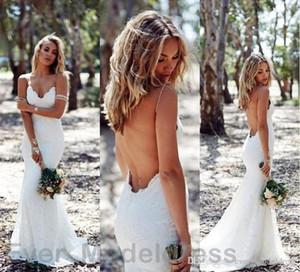 Modest Backless Lace Brautkleider 2019 Spaghetti Open Back Sweep Zug Boho Sexy Brautkleider Hochzeitsgast Kleid Günstige Custom
