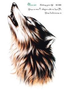 Wholesale-SC2908 Große 3D-Skizze Horrible Brown Howl Wolf Kopf Designs Coole Brust Body Art Temporäre Tätowierung Aufkleber Gefälschte Big Tatoos