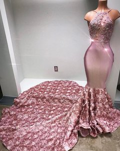 Blush Pink Mermaid Prom Dresses Halter Neck con 3D Flores florales con cuentas See Through Vestido De Soirée Long Evening Party Gowns BA6129