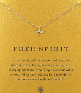 Con la carta! simpatica collana Dogeared con libellula (spirito libero) color argento e oro, nessuna dissolvenza, spedizione gratuita e alta qualità