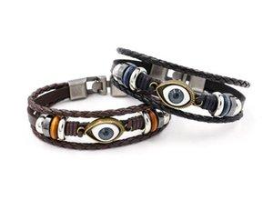 Vente chaude yeux bleus en cuir bracelet en cuir rétro punk FB405 ordre de mélange 20 pièces beaucoup Slap Snap Bracelets