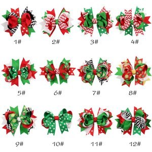 Regalo dei bambini dei capelli delle ragazze della neve dei capelli di Natale Barrette forcelle del bambino del nastro X-Mas Dots Fiori a strisce Accessori Bow Zebra Stampa Bambini Oghh