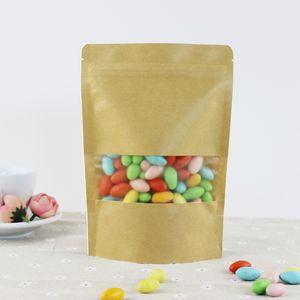 Novo 100 pçs / lote 10 tamanhos saco de embalagem de Papel Kraft fosco janelas stand up Zipper embalagem sacos zip lock varejista pacote selo