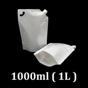 1L البلاستيك الأبيض الغذاء الصف doypack حزمة الحقيبة 1 لتر حالة التعبئة والتغليف الوقود مع ركن ملء صنبور لسائل الحليب المياه